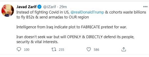 توییت ظریف درباره احتمال وقوع جنگ